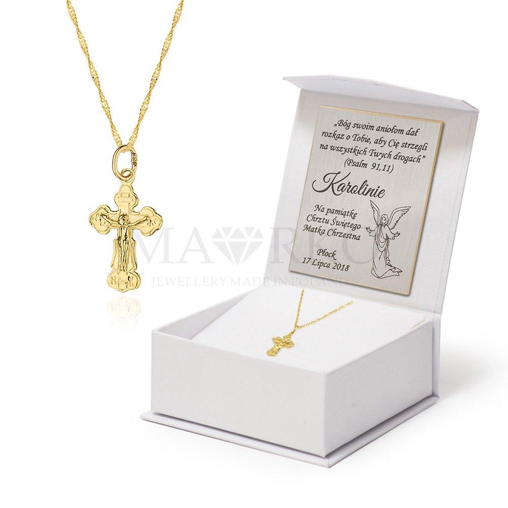 złoty komplet dewocjonaliów z krzyżykiem